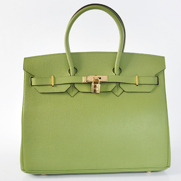 H35GBJSG Hermes Birkin togo leather 35CM Green togo(Gold)