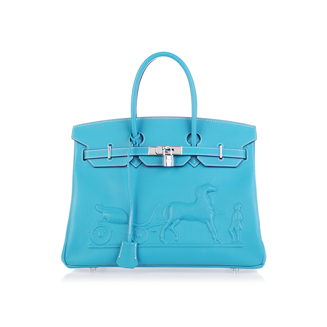H35 Hermes Birkin 35CM with Embossed logo Handbag middle blue H35
