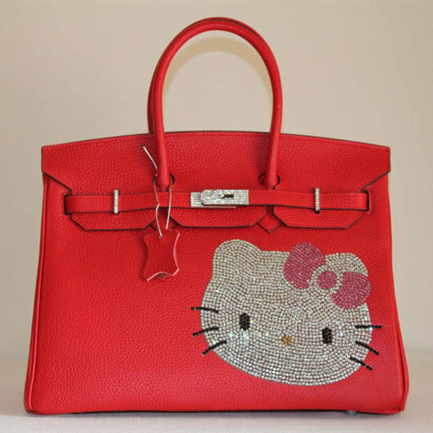 HK0001 Hermes Birkin Hello Kitty 35CM Togo Leather Bag Red HK0001