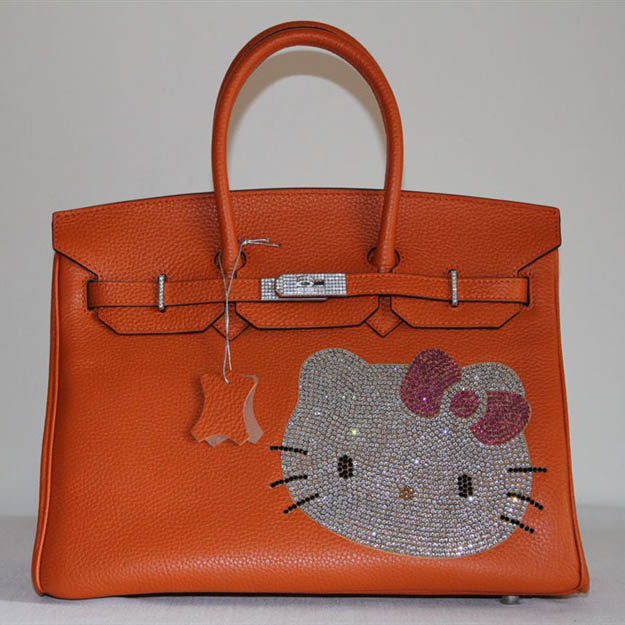 HK0001 Hermes Birkin Hello Kitty 35CM Togo Leather Bag Orange HK0001