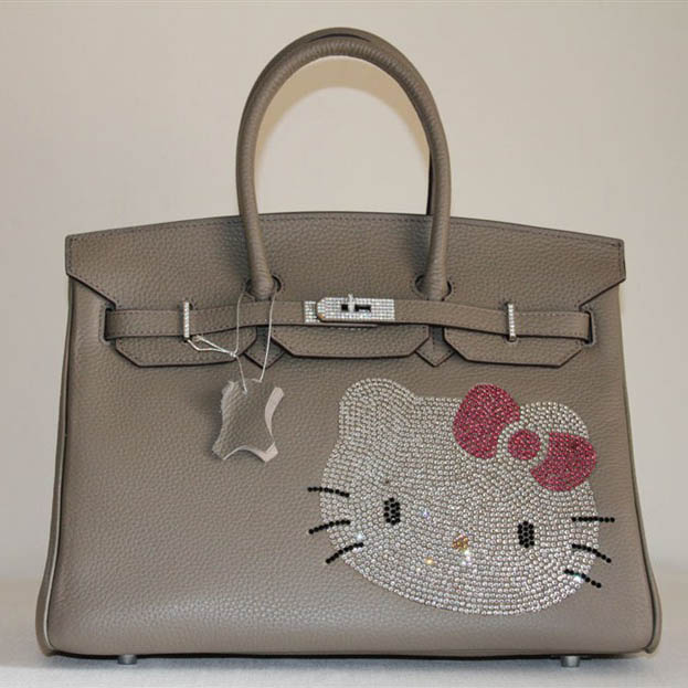 HK0001 Hermes Birkin Hello Kitty 35CM Togo Leather Bag Grey HK0001