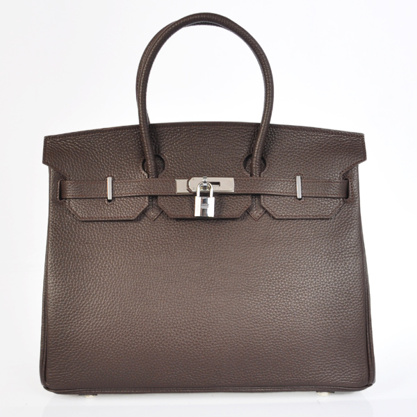 H35LDBS Hermes Birkin 35CM clemence leather in Dark Brown with Silver hardware