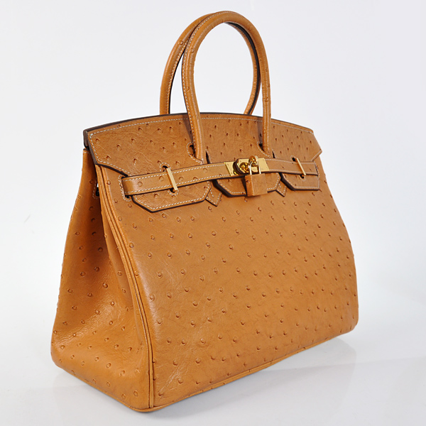H35POSG Hermes Birkin 35CM Ostrich stripes leather in Earth yellow with Gold hardware