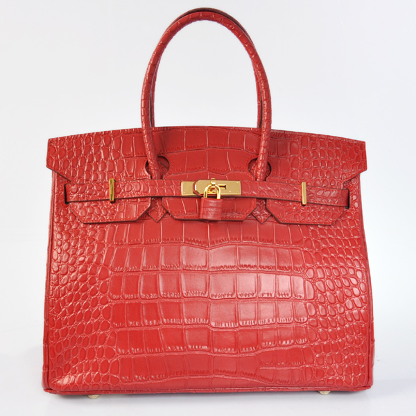 H35POSG Hermes Birkin 35CM Crocodile stripes leather in Flame with Gold hardware