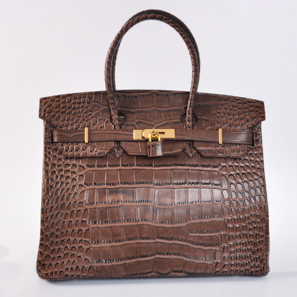 H35POSG Hermes Birkin 35CM Crocodile stripes leather in Dark Brown with Gold hardware