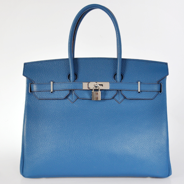 H35POSG Hermes Birkin 35CM clemence leather in turkey blue with Silver hardware