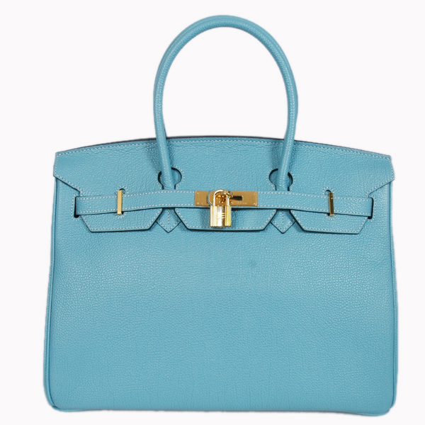 H35POSG Hermes Birkin 35CM togo leather in light blue with Gold hardware