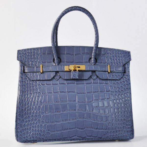 H35BCSG Hermes Birkin 35CM Blue Crocodile stripes leather(Gold)