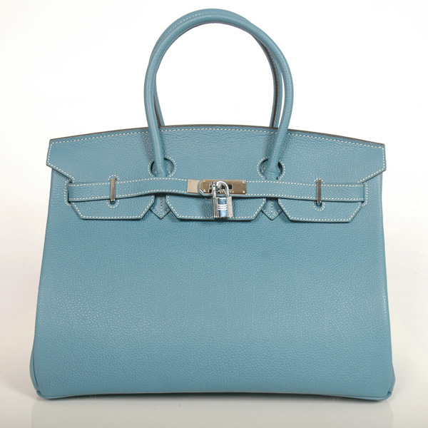 H35MBBJSS Hermes Birkin togo leather 35CM Medium Blue togo(Silver)