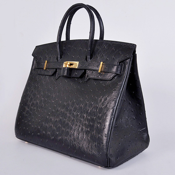 H35BOSG Hermes Birkin 35CM Black Ostrich stripes leather(Gold)