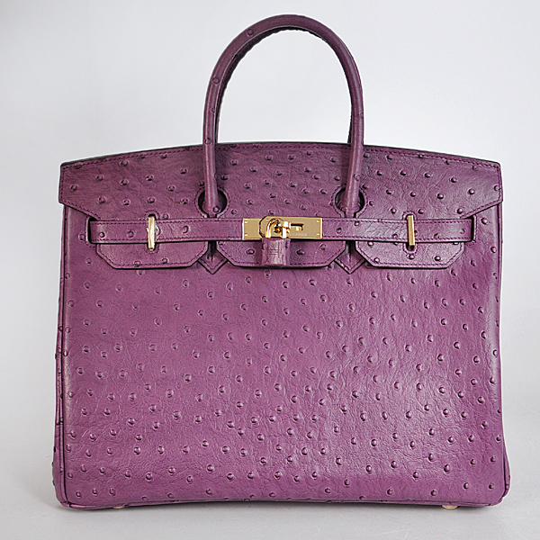 H35POSG Hermes Birkin 35CM Purple Ostrich stripes leather(Gold)