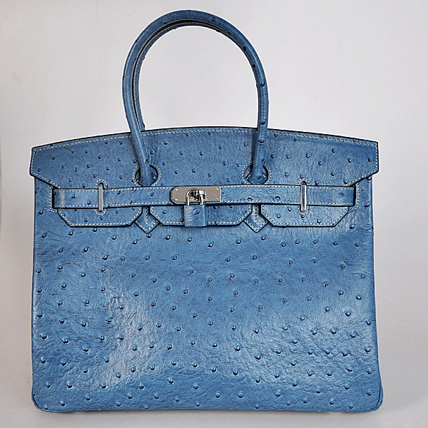 H35MBOSS Hermes Birkin 35CM Medium Blue Ostrich stripes leather(Silver)