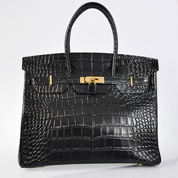 H35BCSG Hermes Birkin 35CM Black Crocodile stripes leather(Gold)