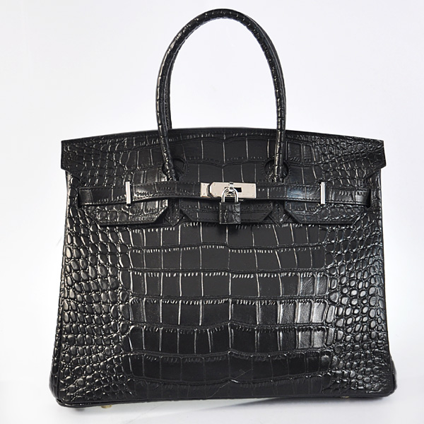 H35BCSS Hermes Birkin 35CM Black Crocodile stripes leather(Silver)