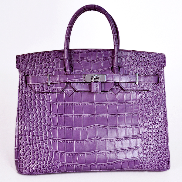 H35PCSS Hermes Birkin 35CM Purple Crocodile stripes leather(Silver)