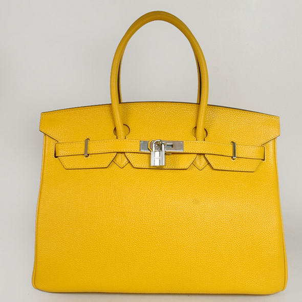 H35 Hermes Birkin 35CM Tote Bags Smooth Togo Leather Turkey Yellow Silver