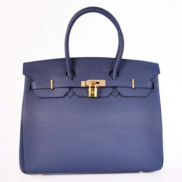 H35 Hermes Birkin 35CM Tote Bags Smooth Togo Leather H35 Dark Blue Golden