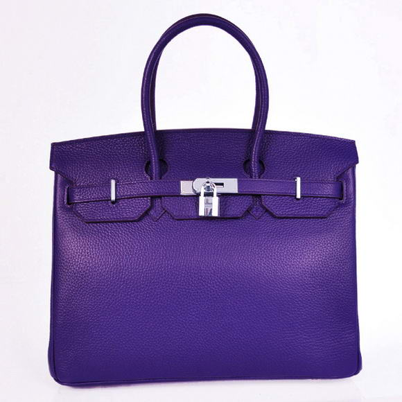 H35 Hermes Birkin 35CM Tote Bags Granulate Calf Leather H35 Iris Purple Silver