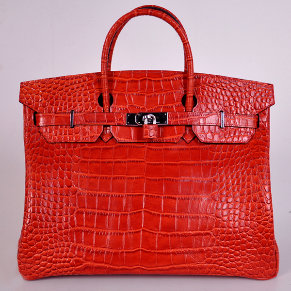 H40CLFS Hermes Birkin 40CM Crocodile stripes leather in Flame with Silver hardware