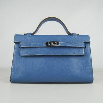 HKL22CNSMB14 Hermes Kelly 22CM Cattle Neck Stripe Medium Blue