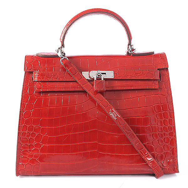 K32 Hermes kelly 32CM Crocodile leather in Light Flame with Silver hardware
