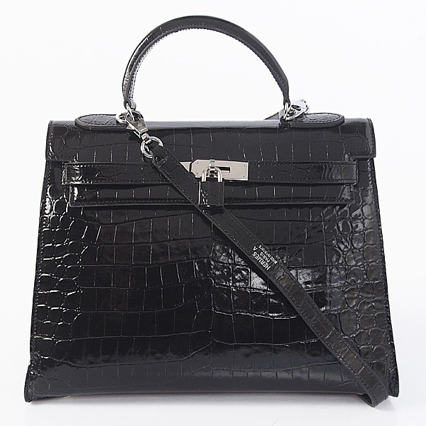 K32 Hermes kelly 32CM Crocodile leather in Light Black with Silver hardware