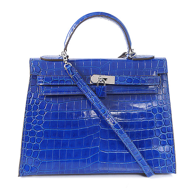 K32 Hermes kelly 32CM Crocodile leather in Light blue with Silver hardware
