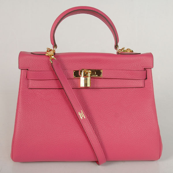 K32LSPG Hermes Kelly 32CM clemence leather in Peach with Gold hardware