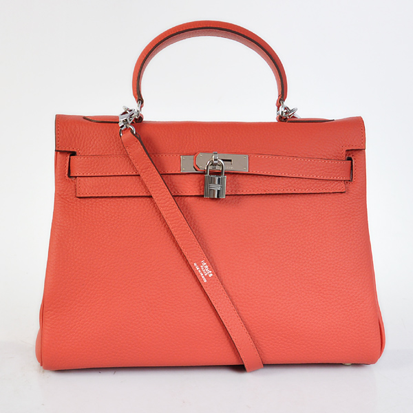 K32LSWRS Hermes Kelly 32CM clemence leather in Watermelon Red with Silver hardware