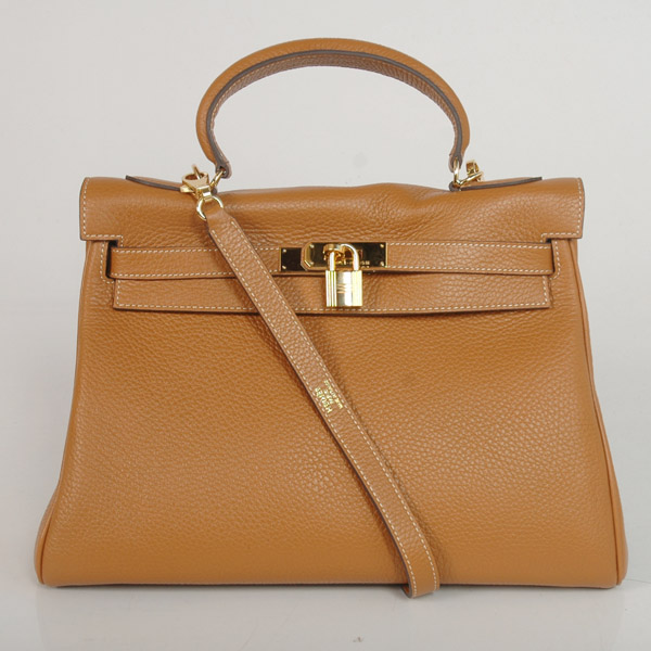 K32LSCG Hermes Kelly 32CM clemence leather in Camel with Gold hardware