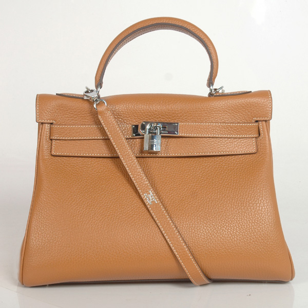 K32LSCS Hermes Kelly 32CM clemence leather in Camel with Silver hardware