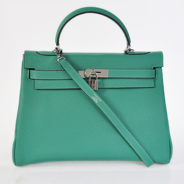 K32LSLGS Hermes Kelly 32CM clemence leather in Lake Green with Silver hardware