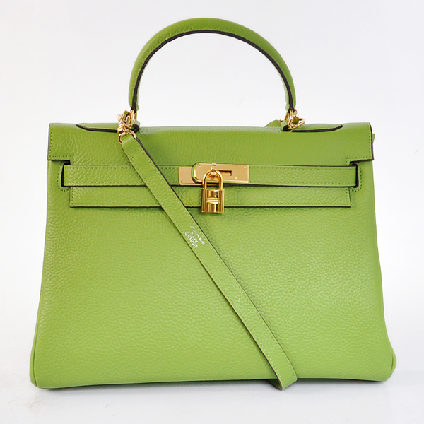 K32LSLGG Hermes Kelly 32CM clemence leather in Light Green with Gold hardware