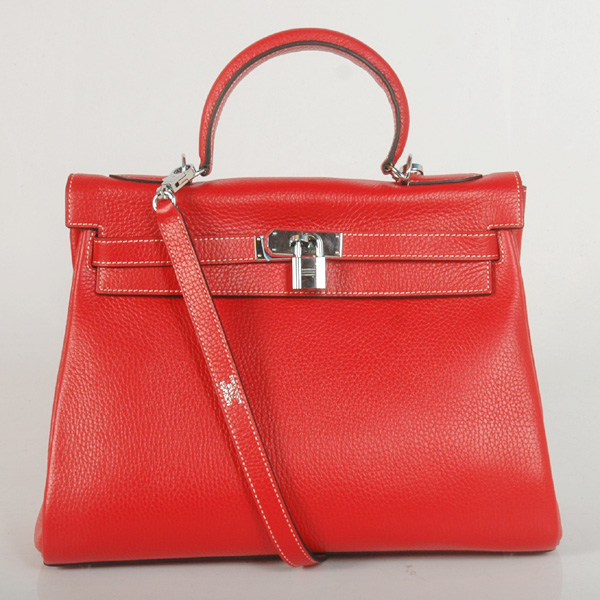 K32LSFS Hermes Kelly 32CM clemence leather in Flame with Silver hardware