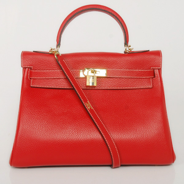 K32LSFG Hermes Kelly 32CM clemence leather in Flame with gold hardware