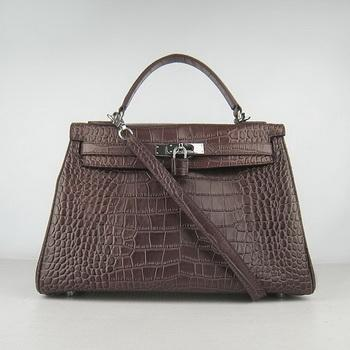 HKL32DCCSS19 Hermes 32CM Dark Coffee Crocodile Stripe(silver)