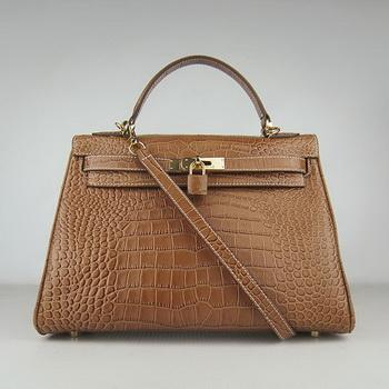 HKL32LCCSG18 Hermes 32CM Light Coffee Crocodile Stripe(gold)
