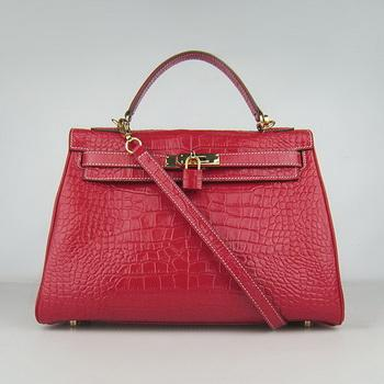 HKL32RCSG017 Hermes 32CM Red Crocodile Stripe(gold)