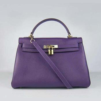 HKL32O0PG013 Hermes Kelly Handbags 32CM Purple(gold)