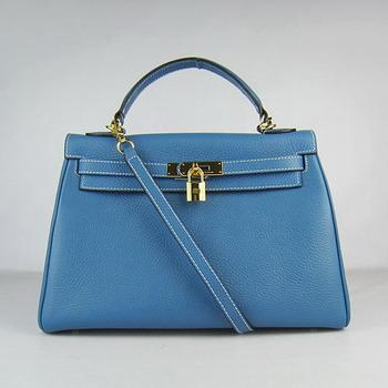 HKL32OMBG009 Hermes Kelly Handbags 32CM Middle Blue(gold)