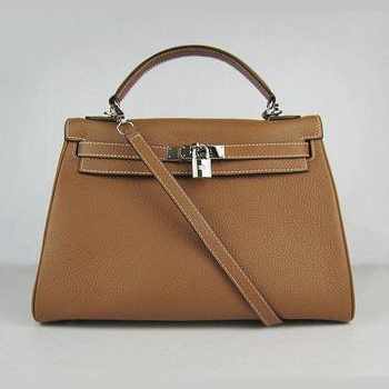 HKL32OLCS008 Hermes Kelly Handbags 32CM Light Coffee(silver)