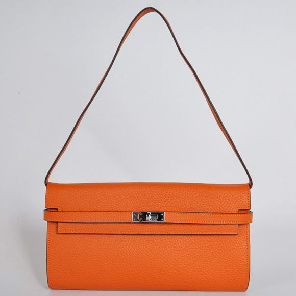 H1001 Hermes Kelly 26CM Shoulder Bag Clemence Orange