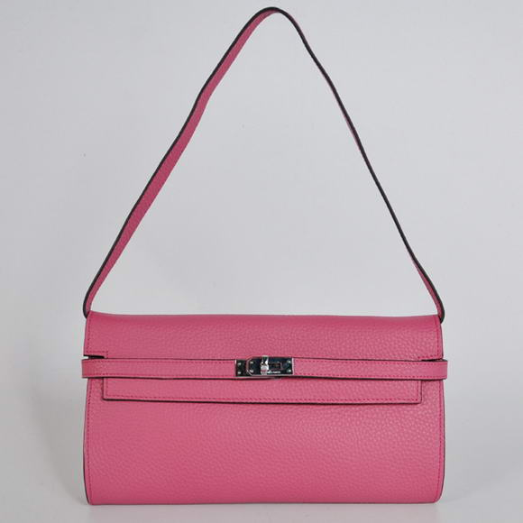 H1001 Hermes Kelly 26CM Shoulder Bag Clemence Peach