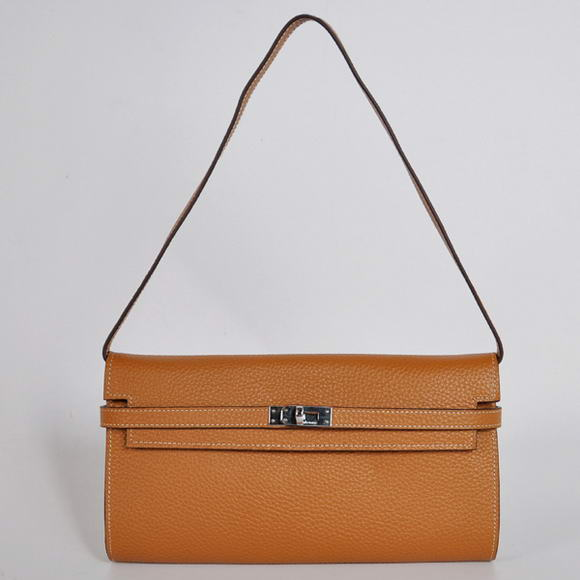 H1001 Hermes Kelly 26CM Shoulder Bag Clemence Camel