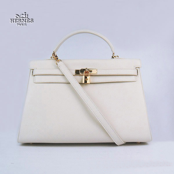 6308 Hermes Kelly 35cm Togo Leather Bag Beige 6308 Gold Hardware
