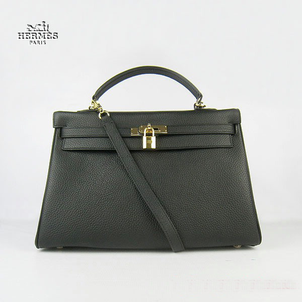 6308 Hermes Kelly 35cm Togo Leather Bag Black 6308 Gold Hardware