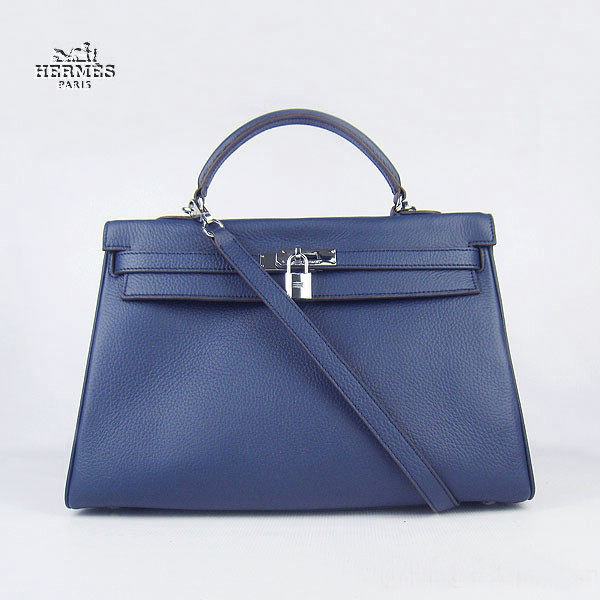 6308 Hermes Kelly 35cm Togo Leather Bag Dark Blue 6308 Silver Hardware