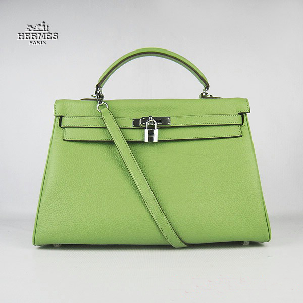 6308 Hermes Kelly 35cm Togo Leather Bag Green 6308 Silver Hardware