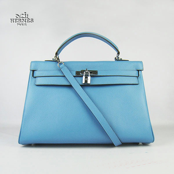 6308 Hermes Kelly 35cm Togo Leather Bag Light Blue 6308 Silver Hardware