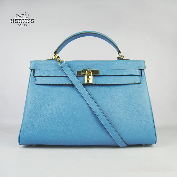 6308 Hermes Kelly 35cm Togo Leather Bag Light Blue 6308 Gold Hardware